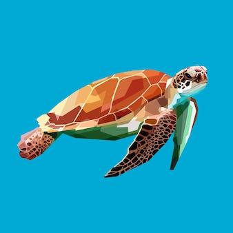 Schildkröte, die unter wasser in den blauen hintergrund schwimmt