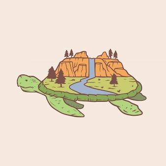 Schildkröte insel monoline abzeichen