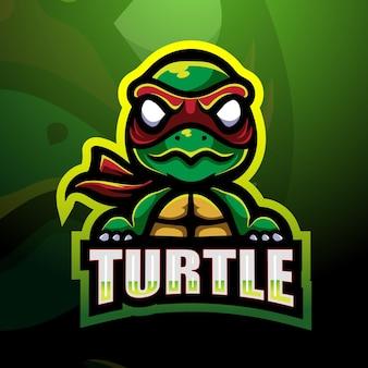Schildkröte maskottchen esport illustration