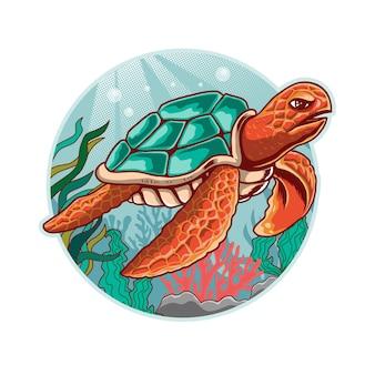 Schildkröte mit unterwasserhintergrund