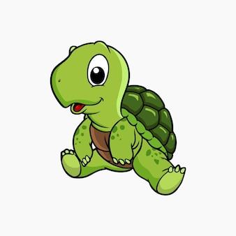 Schildkröte sitzt vektor-illustration cartoon c