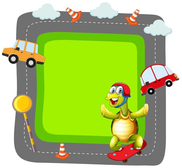 Schildkröte spielt skate banner
