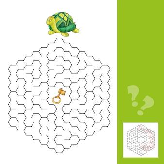 Schildkröte und der goldene schlüssel - labyrinthspiel für kinder mit antwort