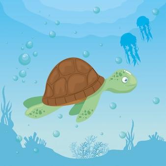 Schildkröte und leben marine im ozean, meeresweltbewohner, niedliche unterwasserlebewesen, unterwasserfauna