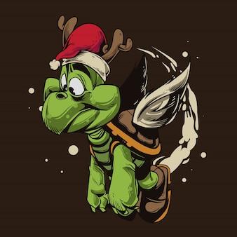 Schildkröte-weihnachtskarikatur Premium Vektoren
