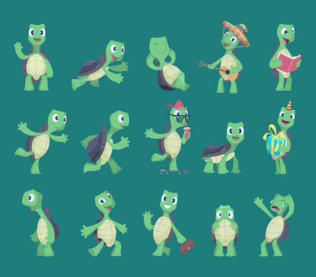 Schildkröten-karikatur. komische reptilien lustige charaktere in verschiedenen action-posen natur wilde tiere vektor-schildkröten-illustrationen. reptilien-, schildkröten-, schildkröten-tiermaskottchensammlung