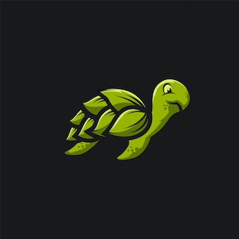 Schildkröten-logo ilustration des grünen blattes