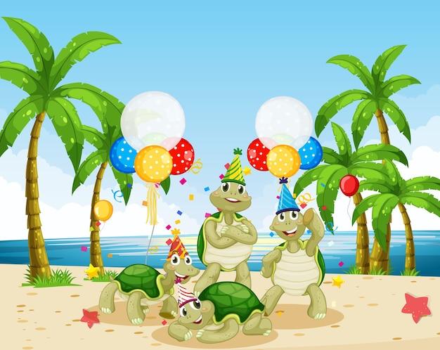 Schildkrötengruppe in der partythema-zeichentrickfigur auf strandhintergrund