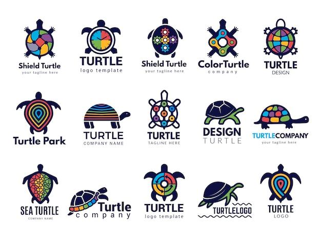 Schildkrötensymbole. geschäft logo wilde meerestiere schildkröte vektor farbige stilisierte bilder sammlung. firmenlogo der tierschildkröte, seeschildkrötenillustration