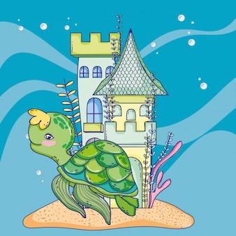 Schildkrötentier mit schloss- und algenpflanzen