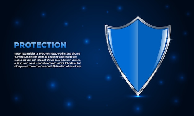 Schildschutz. leuchtender futuristischer sicherheitsschild auf dunkelblauem hintergrund mit glanzlichtern.