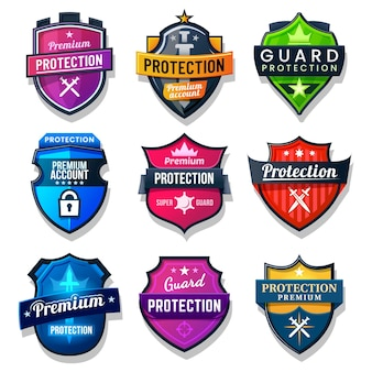 Schildschutz-, sicherheits- und sicherheitsschilder. schutz der persönlichen daten im internet und im internet, virenschutz mit schwert und sternen.