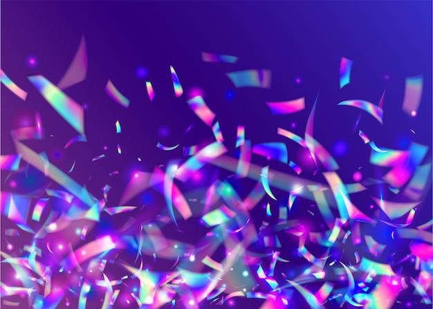 Schillernder hintergrund. glänzender flyer. laser feiern dekoration. kaleidoskop-effekt. violetter retro-lametta. fantasiekunst. glamour-folie. geburtstag funkelt. lila schillernder hintergrund