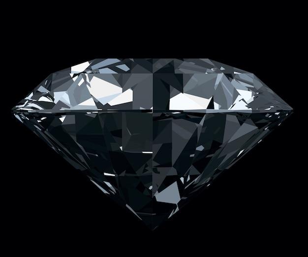 Schillernder, klassischer, fotorealistischer diamant lokalisiert auf schwarzem hintergrund.