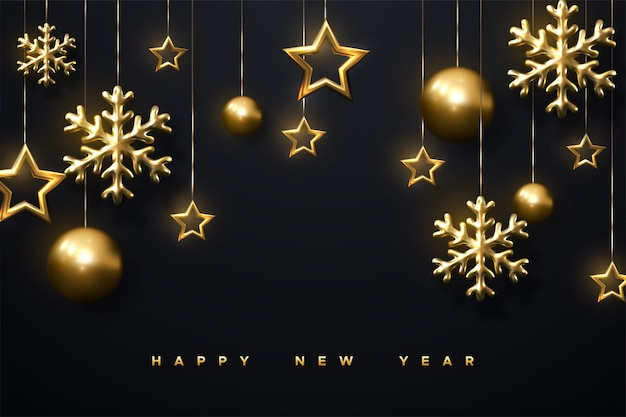 Schimmernde goldene schneeflocken, weihnachtskugeln und sterne auf schwarzem hintergrund. 3d illustration der leuchtenden hängenden cristmas verzierung. neujahrs-cover oder banner-vorlage.
