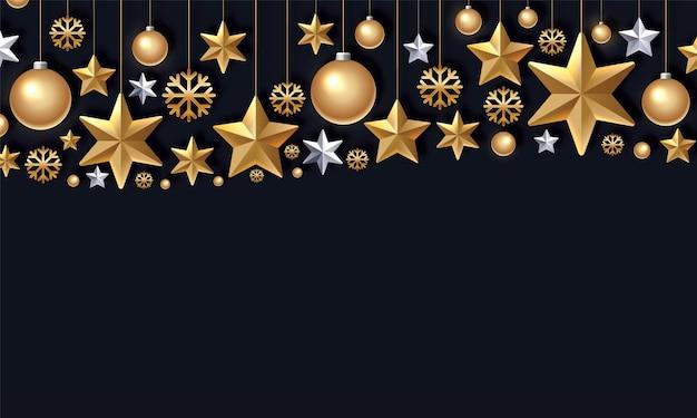 Schimmernde goldene schneeflockenweihnachtskugeln und sterne auf schwarzem hintergrundhängender weihnachtsschmuck