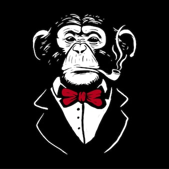 Schimpanse, der die rote fliege aufwirft wie mafia und rauchen trägt