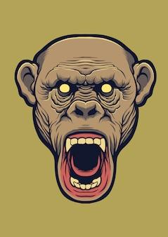 Schimpansenkopf-designillustration.