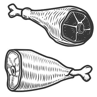 Schinkenfleisch auf weißem hintergrund. elemente für logo, etikett, emblem, zeichen, menü. illustration.