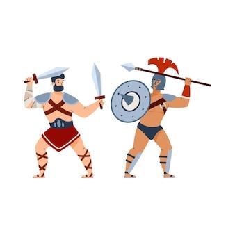 Schlacht der griechischen und römischen antiken gladiatoren flache vektorgrafik isoliert