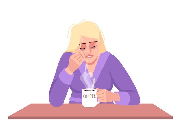 Schläfrige dame mit kaffee halbflacher rgb-farbvektorillustration. gestresste kaukasische frau lokalisierte zeichentrickfilm-figur auf weißem hintergrund. erschöpfung, emotionale erschöpfung, energiemangel