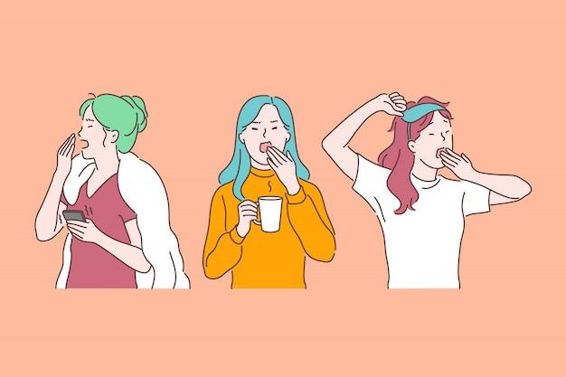 Schläfrigkeit, morgenmüdigkeit und chronische erschöpfung, müde fühlend, burnoutzeichenkonzept