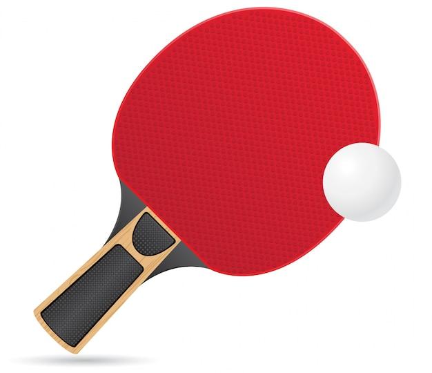 Schläger und ball für tischtennis-tischtennisvektorillustration