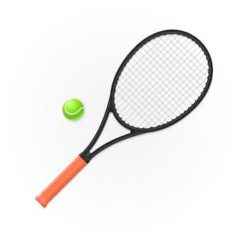 Schläger und ball zum tennisspielen