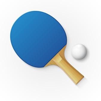 Schläger und ball zum tischtennis spielen