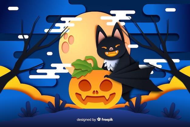 Schlägerkatze und kürbis halloween-hintergrund