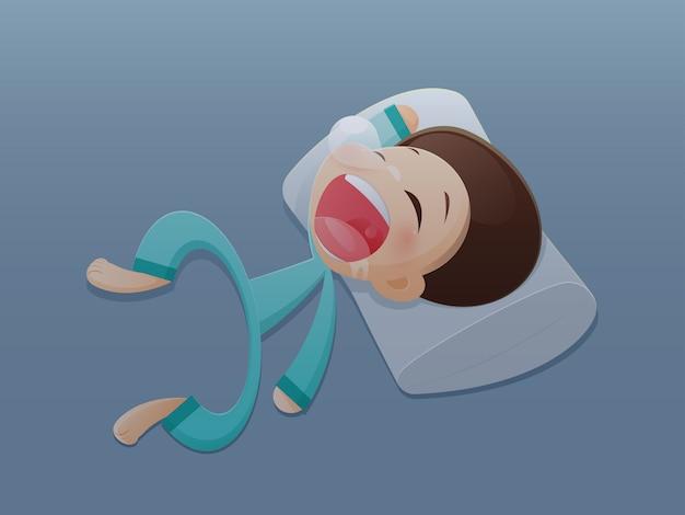 Schlaf. karikaturillustration.