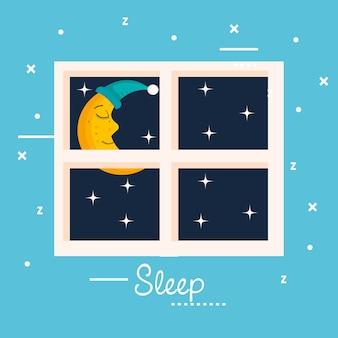 Schlaf mond fenster ansicht sterne nacht