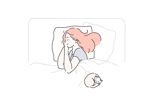 Schlaf, müdigkeit, vergnügen, lieblingskonzept