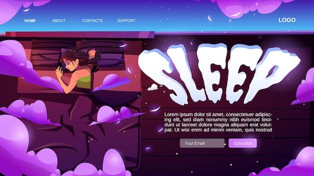 Schlaf-website mit frau, die im bett ein nickerchen macht