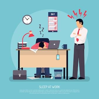 Schlafen bei der arbeit flach poster