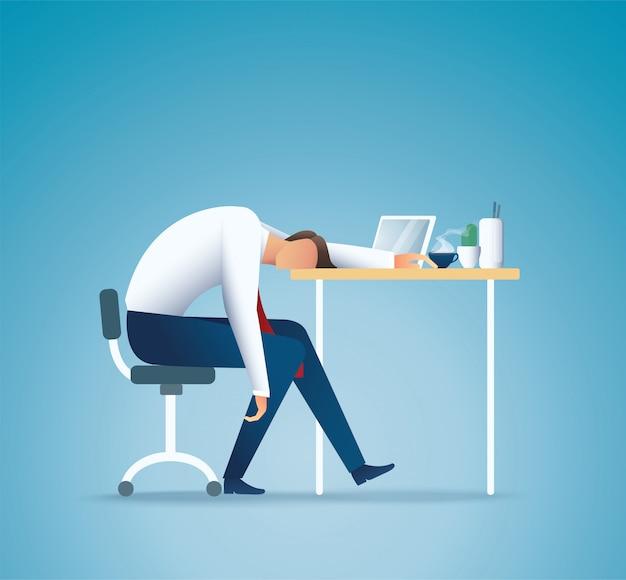 Schlafen bei der arbeit. müder geschäftsmann. überarbeitendes konzept