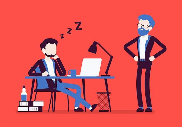 Schlafen sie bei der büroarbeit