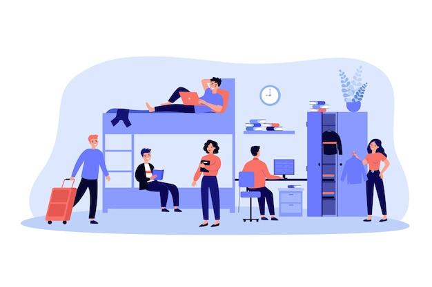 Schlafen und studieren im akademischen jahr flache illustration