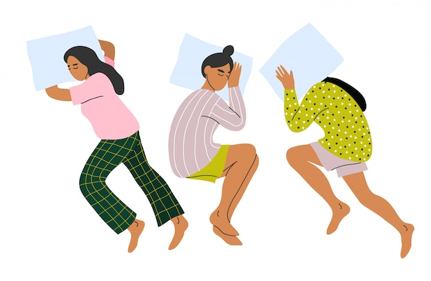 Schlafende frau eingestellt. schlafen sie auf dem bauch und auf der seite.