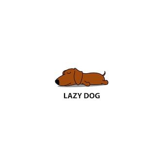 Schlafende ikone des faulen dachshundwelpen