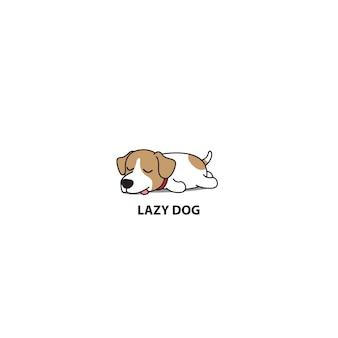 Schlafende karikaturikone des faulen jack russell terriers