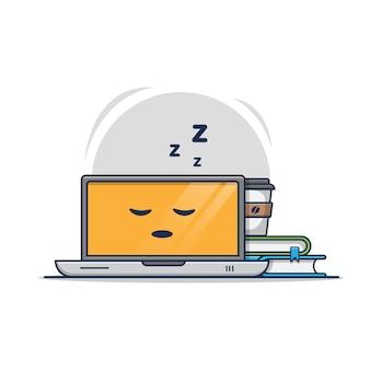 Schlafende laptop- und kaffeeikonenillustration