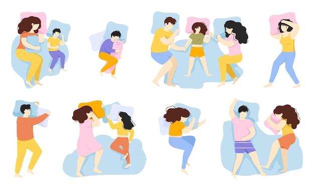 Schlafende menschen. schlafhaltung von mann, frau und kind, männliche und weibliche charaktere