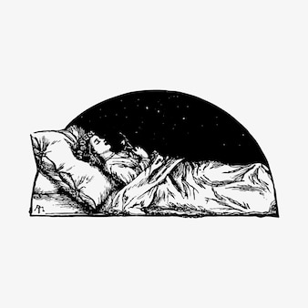 Schlafende schönheit vintage zeichnung