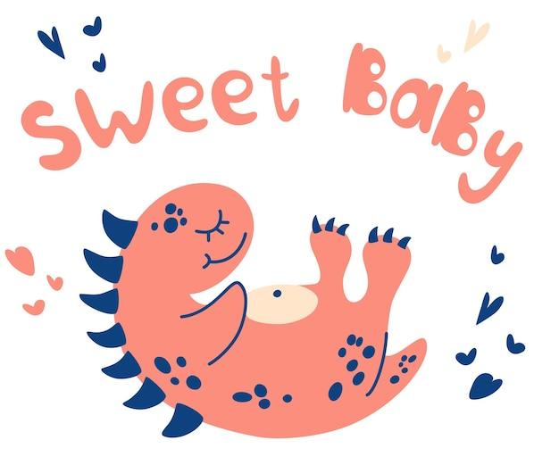 Schlafender dinosaurier des netten babys. hand zeichnen kleiner dino. süße baby-schriftzug. lustiges tier. cartoon-vektor-illustration für t-shirt, kinderbekleidung, poster, kindergarten oder etc.
