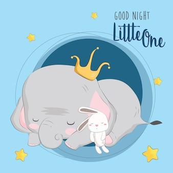 Schlafender elefant mit seiner puppe