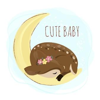 Schlafender fuchs-cartoon-waldbaby-tier