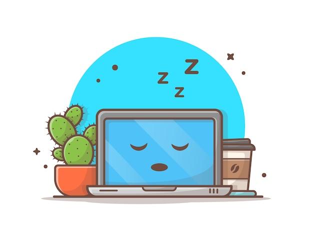 Schlafender laptop mit kaktus und kaffee-vektor-ikonen-illustration