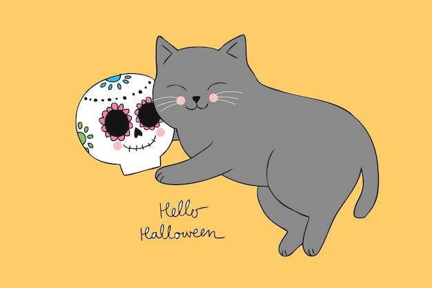 Schlafender und schädelvektor der karikatur nette halloween-katze.