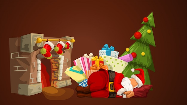 Schlafender weihnachtsmann in der nähe des kamins